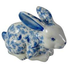 Vintage Andrea By Sadek Delft Blue Porcelain Rabbit Bank
