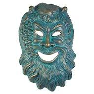 Vintage Handmade Bacchus Mask in Gold & Verdigris