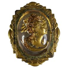 Reverse Intaglio Glass Cameo Brooch With Art Deco Frame