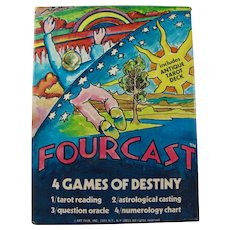 1974 Fourcast 4 Games of Destiny - Includes Tarot Deck & Fortune-Telling Pendulum