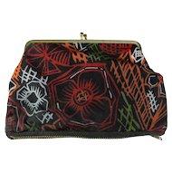 1960s Black & Floral Clutch Purse With Zipper Compartment