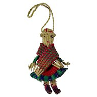 Vintage Tiny Straw Doll Ornament In Bolivian Costume