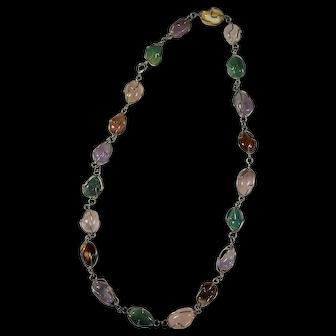 Vintage Wire-Wrapped Rainbow Quartz & Agate Necklace