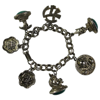 Vintage Double Link Charm Bracelet With Chinese Good Luck Symbols