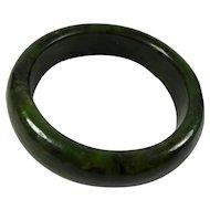 Vintage Dark Green Nephrite Jade Bangle Bracelet