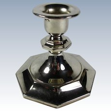 Vintage Silver-Plated Candlestick With Octagonal Base