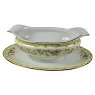 Vintage Noritake Gold-Trimmed China Gravy Boat With Attached Plate