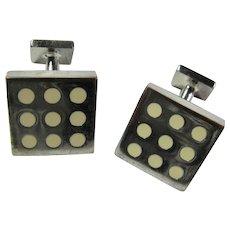 Vintage Silver Domino Cufflinks
