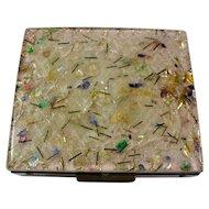 Vintage Confetti Lucite & Brass Pill Box