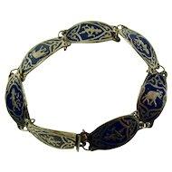 Vintage Sterling Silver & Dark Blue Enamel Thai Goddess & Elephant Bracelet