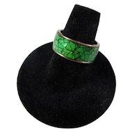 Vintage Copper & Green Crackle Enamel Ring - Size 8