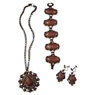 Vintage Copper & Goldstone Lucite Parure (Set of Necklace, Bracelet, Earrings)