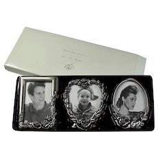 Vintage Lord & Taylor Set of 3 Pewter Picture Frames In Original Box