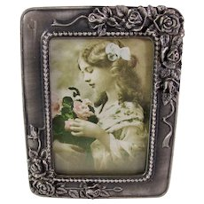 Lord & Taylor Small Pewter Picture Frame With Roses