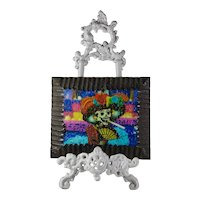Hand-Painted Day of the Dead Calavera Catrina Painting With Ornate Wrought-Iron Stand