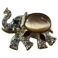 Vintage Jelly Belly Style Elephant Brooch With Swarovski Crystals