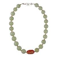 Vintage Green Jade & Angel Skin Coral Choker