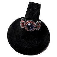 Vintage Gunmetal Ring With Purple & Red Stones Size 8.5