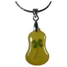 Vintage Glow Lucite Four-Leaf Clover Pendant on Gold-Plated Chain