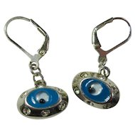 Vintage Sterling Silver Evil Eye Earrings With Cubic Zirconias
