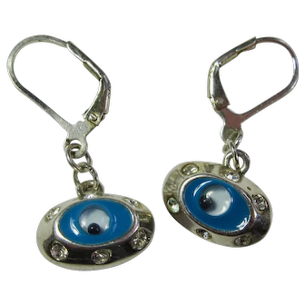 Vintage Sterling Silver Evil Eye Earrings With Cubic Zirconias