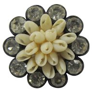 SALE! Tiny 1920s Celluloid Brooch With Rhinestones & Natural Shells