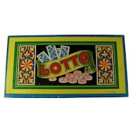 1930s German Lotto Game in Decorative Wooden Box