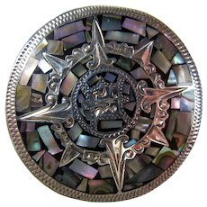 Vintage Sterling Silver & Abalone Aztec Sun Brooch