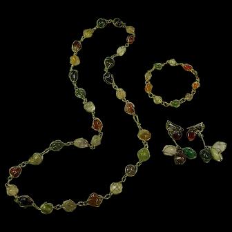 Vintage Wire-Wrapped Rainbow Quartz & Agate Parure (Necklace, Bracelet, Earrings)