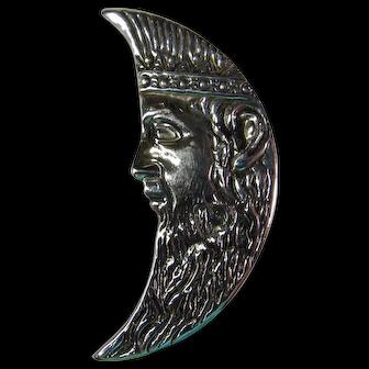 Vintage Sterling Silver Man In The Moon Brooch