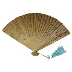 Vintage Carved Bamboo Fan In Decorative Box