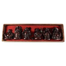 Vintage Set of 6 Chinese Red Resin Buddha Statues