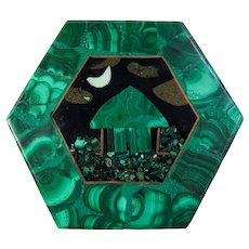 Hexagonal Malachite Box With Inlaid Onyx Scene