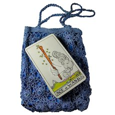 Vintage Rider-Waite Tarot Card Deck With Crocheted Blue Bag