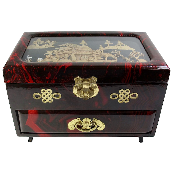 Vintage Chinese Red Lacquer Jewelry Box With Satin Rose Lining