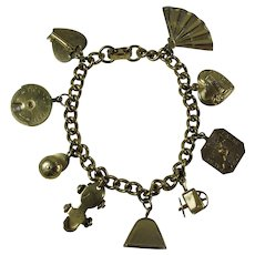 "1950s Coro Love Charm Bracelet With Spinning ""Lie Detector"""