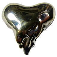 Vintage Sterling & Gold Melting Heart Brooch/Pendant