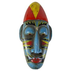 Vintage Indonesian Hand-Carved Wooden Mask