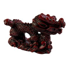 Vintage Red Resin Lucky Dragon Statue