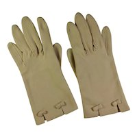 1950s Ladies' Beige Cotton Dress Gloves