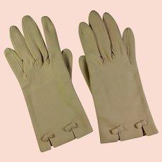 1950s Ladies' Beige Cotton Dress Gloves