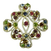 Vintage White Cross & Eye Brooch With Rainbow Stones
