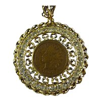 Lucky 1907 Indian Head Penny & Rhinestone Necklace