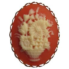 SALE! Faux Coral Flower Basket Cameo Brooch