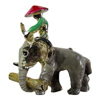 Vintage Person Riding Elephant Brooch - Free U.S. Shipping
