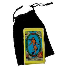 Vintage Rider Waite Miniature Tarot Deck With Black Velvet Bag