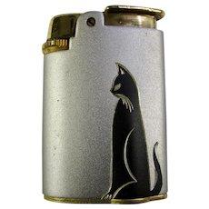 Art Deco Ronson Varaflame Cigarette Lighter With Black Cat Design