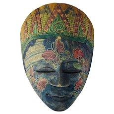 Balinese Dewi Sri Wooden Goddess Mask