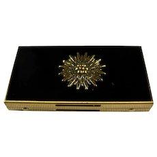 Vintage Black Enamel Sunburst Pillbox