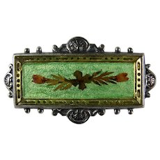 Early 20th Century Green Enamel Heather Brooch With Sterling Silver & Vermeil